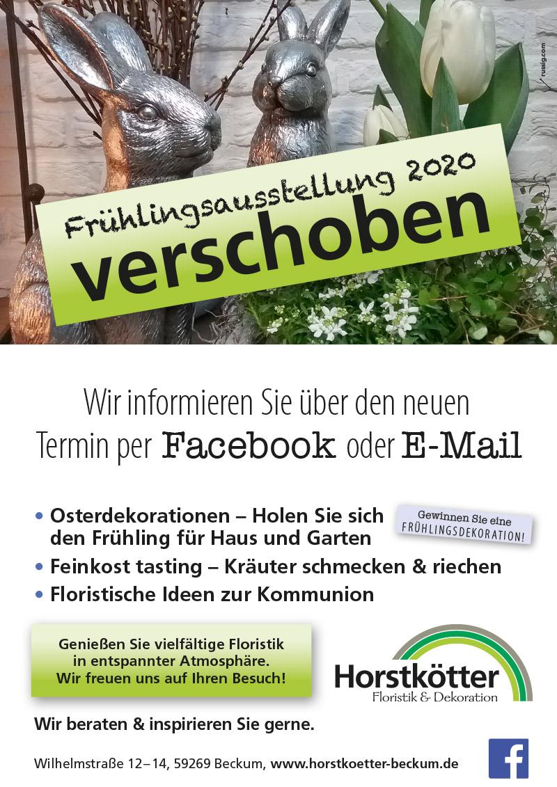 Blumen Horstkötter Beckum Kreis Warendorf Frühlingsausstellung Veranstaltung verschoben Schutz vor Corona Virus